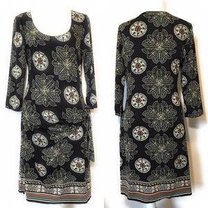 Max studio faux wrap dress, Sz Large, Blk floral